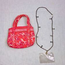 Vera Bradley Hope Toile Pocketbook Mini Pink Purse Name Tag Breast Cancer Lot 2