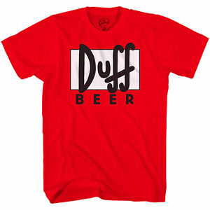 Adult Unisex The Simpsons Duff Beer Logo Red T-shirt