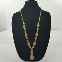 Statement Necklace long Gold Tone Pink Tan Chain Faceted Dangle Boho