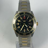 Vintage 1990 Swiss Army Mens Two Tone Lancer Date Quartz Analog Wristwatch