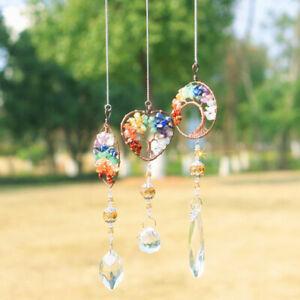 Hanging Crystal Suncatcher Stone Beads Prism Pendant Craft Window Home Ornaments