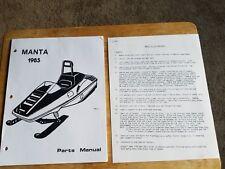 Rare 1985 Manta Snowmobile Parts And Set Up Procedure Manuals Plus 1984 Manta