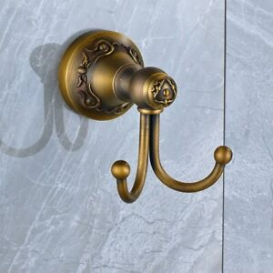 Robe Hook,Clothes Hook Antique Brass Wall Mount Bathroom Double Hook