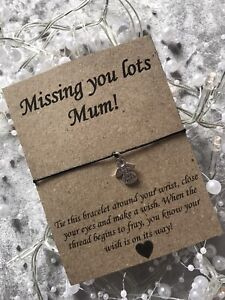 💜Missing You Mum Angel Wish Bracelet Message Charm Card Gift, Mother's Day Gift