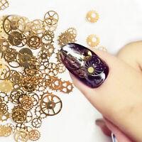 Ultra-thin 3D Nail Art Decoration Bronze Time Wheel Steam Punk