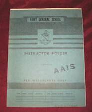 ARMY GENERAL SCHOOL Instructor Folder 1953