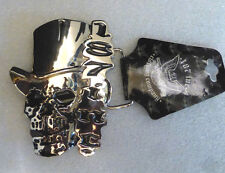 187 inc. Chrome Plated Silver Skull with Hat and 187 inc. Symbol Belt Buckle