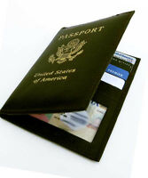 Black Leather USA Passport Cover Travel Wallet Card Document Holder