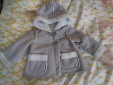 Savannah Baby Girls Size 12 Month Gray Hooded Flocked Coat Toggle Buttons