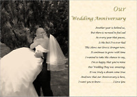OUR WEDDING ANNIVERSARY personalised PHOTO poem (Laminated Gift) 1st 2nd 3rd etc
