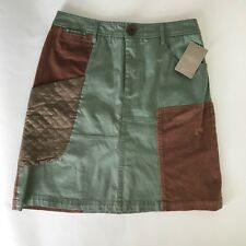 Meadow Rue Skirt Green Brown Sz 4 NWT Anthropologie Women's Pockets New Contrast