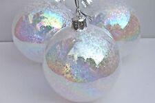 GISELA GRAHAM CHRISTMAS CLEAR GLASS IRID GLITTER MINI STARS FILLED BAUBLE  X 3