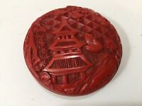 "Vintage Chinese Carved Cinnabar Miniature Lacquer Round Box, 2 1/2"" D x 1"" High"