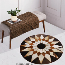 New 100% Cowhide Leather Round Rug Cow Skin Patchwork Area Carpet 11145