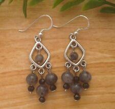 925 Sterling Silver Hooks Larvikite Labradorite Chandelier Earrings ~ Hindu