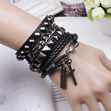 Black Fashion 1set Punk Multi-layer PU Leather Cuff Bracelet Wristband for Men
