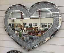 Crushed Diamante Jewel Crystal Love Heart Shaped Large Wall Hanging Mirror Bling