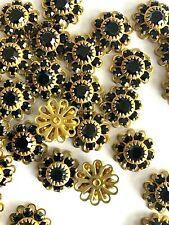 W002 - 24 Set w/Swarovski Stones - Sew On Flower Components - Jet Black Sparkle