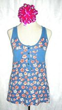 Tommy Girl Women's Tank Top Small Blue Peach Floral Print Racer Back Casual