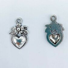 10 Heart Charms Antiqued Silver Tone Pendants Love Findings Floral Flower