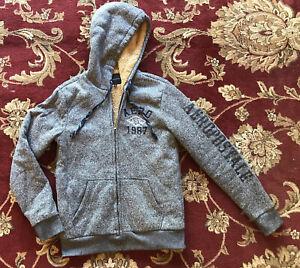 Aeropostale fleece lined jacket herringbone blue size medium