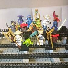 14 Stk. Lego Ninjago Figuren Zane Spitta Cyborg Golden Kai Cole Sensei Wu Ghost