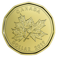"🇨🇦 Ô Canada $1 Dollar Coin, Special Struck Loonie ""Ô Canada"", UNC, 2019"