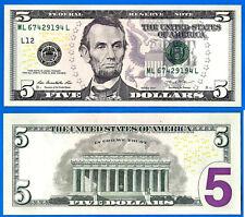 USA 5 Dollars 2013 UNC Mint San Francisco L12 ML Suffix L US Dollar Lincoln Ppal
