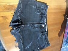 top shop black denim shorts size 8