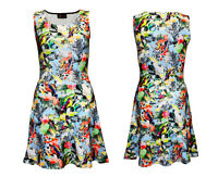 Cute Exotic Tropical Birds Parrots Hawaii Print Sleeveless Skater Flared Dress