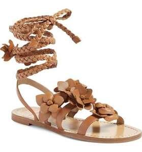 NIB Authentic TORY BURCH Blossom Gladiator Leather Sandal in Royal Tan Sz 8 $295