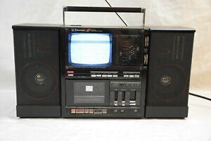 VINTAGE EMERSON XLC-556 PORTABLE TV BOOMBOX GHETTO BLASTER CASSETTE AM/FM STEREO