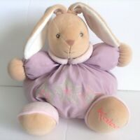 Kaloo Chubby Bunny Rabbit Purple Plush Baby Toy Stars Rattle 12 Inch