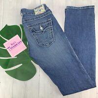 TRUE RELIGION Womens Blue Jeans Straight Embellish Flap Pockets  Denim Size 27
