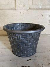 New Galvanized Steel Metal Flower Pot Storage Basket Weave Farmhouse Rustic
