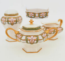Belleek Sugar Bowl & Creamer Set, Tea Caddy, Tray with Handles, Hand Decorated