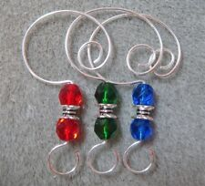 =^..^=  12 Faceted Glass Bead Ornament Hangers Hooks Red Green Blue with Silver