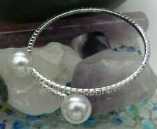 Wedding Jewellery - Silver Plate Faux Pearl / Diamante Bangle / Bracelet