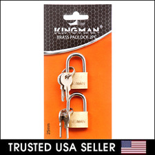 2 Small Metal Padlock Brass Travel Locks Keyed Suitcase Luggage Jewelry 25mm