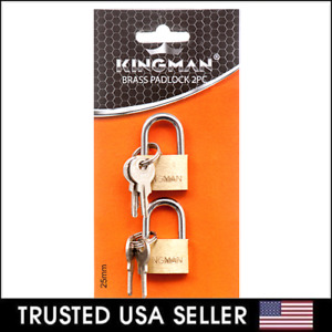 2 Small Metal Padlock Brass Travel Locks Keyed Suitcase Luggage Jewelry 25mm