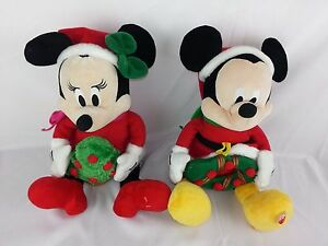 """Disney Mickey & Minnie Mouse Christmas Holiday Sound Musical Plush 11"""" Lot of 2"""
