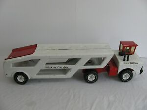 1974-75 Tonka Toys Pressed Steel Red & White Mighty Car Carrier Hauler #3991 VG