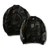 Men's A Bathing Ape Shark Head Flight Bomber Jacket BAPE Baseball Coat Outwear#