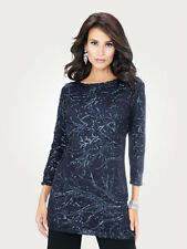 Artigiano 3/4 Sleeve Sequin Tunic Dress Size 24 Midnight Blue