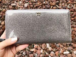Kate Spade Mavis Street Neda Zip Around Wallet Gray Anthracite Glitter Spark