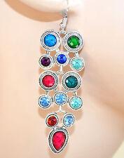 ORECCHINI argento multicolore etnici strass pietre pendenti idea regalo F288