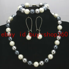 New 12mm White Silver Gray South Sea Shell Pearl Necklace Bracelet Earrings Set