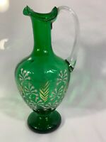 Vintage Decorative Green Glass Jug Vase Frilled Rim