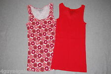 Womens TANK TOP LOT Ribbed M 8-10 Bright Red Retro Graphic Peach Orange Print
