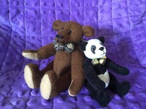 "Artist Made Miniature Teddy Bears 5"" Brown Felt Bear & 4"" Panda Bear"